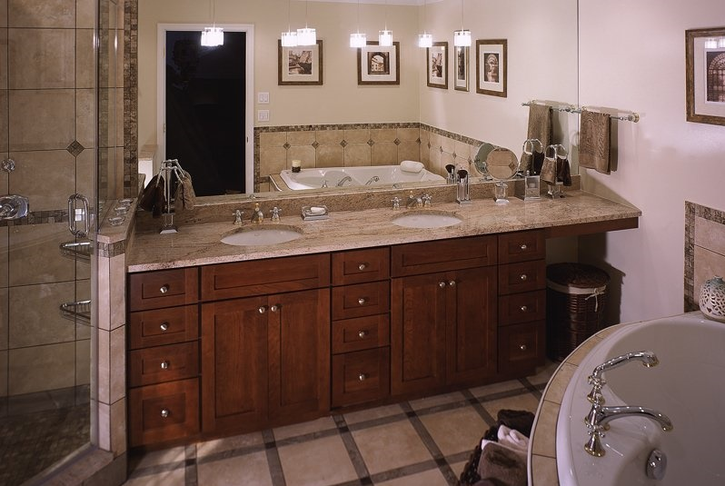 brown-mission-cabinets-withtan-granite