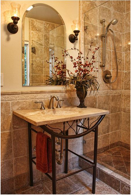 stone-tile-shower-with-stone-sink