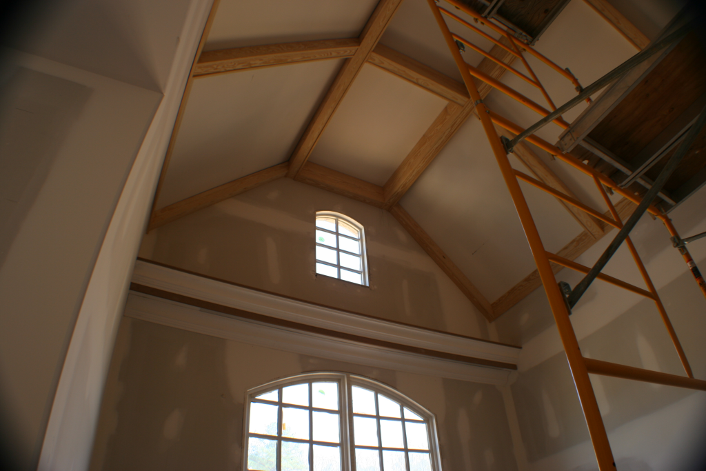 coffered-cathedral-ceiling-installing