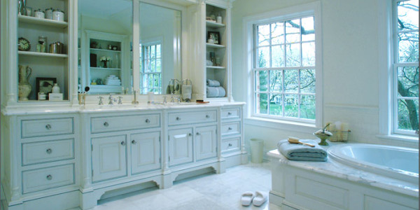 White Marble on White Raised Panel Cabinets